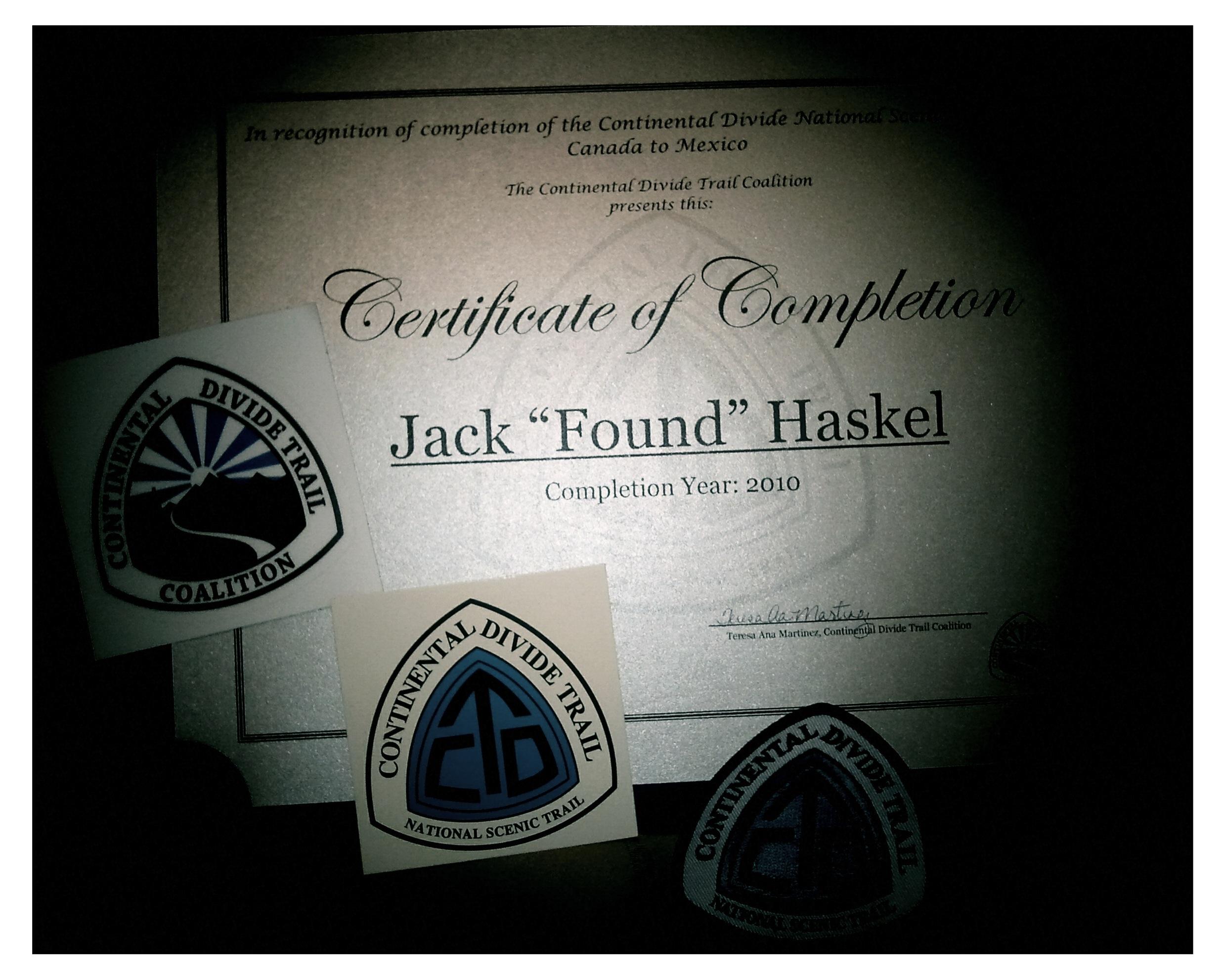 Cdt Completion Certificate Im Jack Haskel