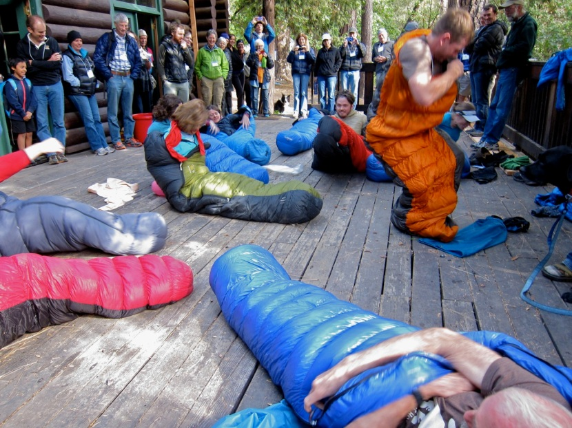 The sleeping bag speed stuffing event during the Hiker Olympics.