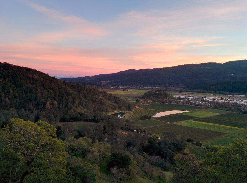 The town of Calistoga from the Old Mill Hill trail.